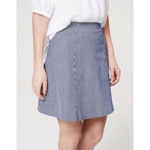 LOFT Seersucker Pinstripe Flare Skirt